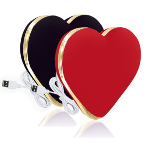 USB Vibrating Silicone Heart Vibrator Red Black